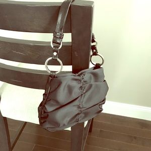 Hype little black bag silver hardware patent strap
